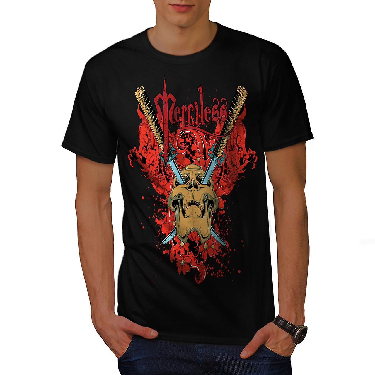 Merciless Flower Skull Men Black T-shirt | Wellcoda