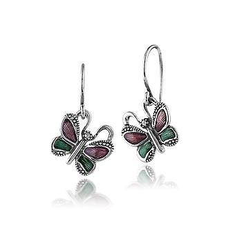 925 Sterling Silver Butterfly Marcasite Drop Earrings With Green & Violet Enamel