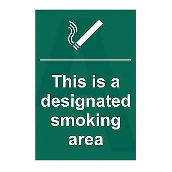 ASEC `This Is A Designated Smoking Area` 200mm X 300mm PVC Self Adhesive Sign
