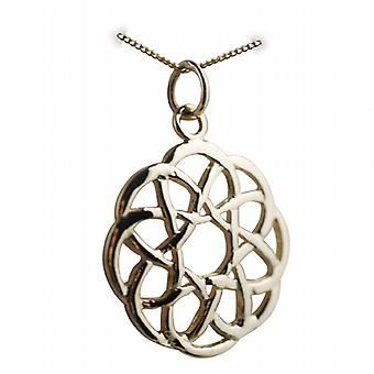 9ct Gold 22mm round Celtic knot design Pendant with a curb Chain 20 inches