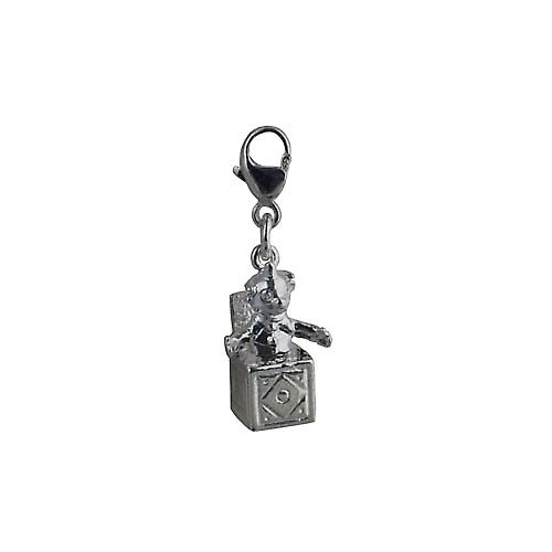 Silver 25x10mm Jack in the Box Charm on a lobster trigger
