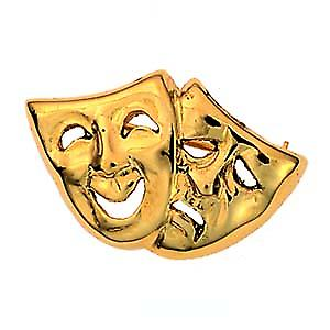 9ct Gold 22x33mm Comedy and Tragedy Brooch