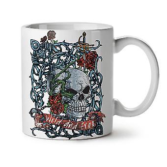 Muerte esqueleto Rosa té blanco nueva taza de café de cerámica 11 oz | Wellcoda