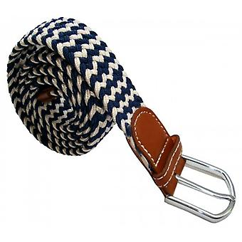 Bassin and Brown Striped Elasticated Woven Belt - Navy/White