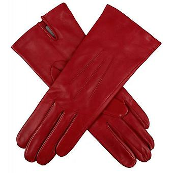 Dents Felicity Silk Lined Plain Hairsheep Leather Gloves - Berry