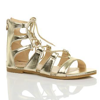 Ajvani womens planas cordón cruzado abrigo alrededor zapato sandalias de tiras