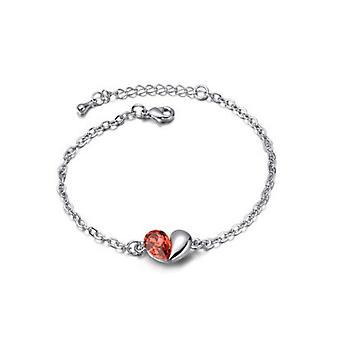 Orange Love Heart Themed Crystal Silver Jewellery Bracelet BG1408