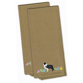 Black Border Collie Easter Tan Embroidered Kitchen Towel Set of 2