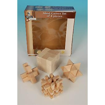 Mind Games Set of 4 Pieces made from Wood Kids & Adults Toy