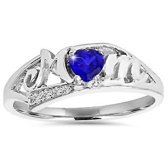 5/8ct Blue Heart Sapphire & Diamond MOM Ring 10K White Gold
