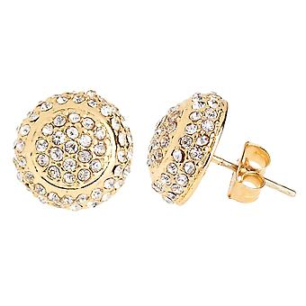 Iced out bling earrings box - ROUND DOME gold 12 mm