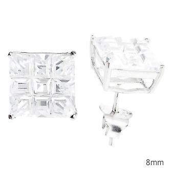 925 sterling silver iced out earrings - SQUARE CUT CAST