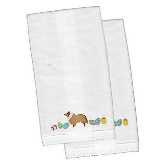 Collie Wielkanoc biały haftowany pluszowe Hand ręcznik zestaw 2