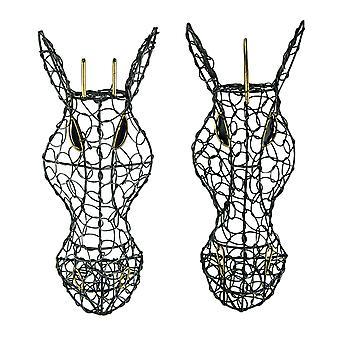 Set of 2 Silver Finish Looped Metal Zebra & Giraffe Head Wall Hangings 12 Inches