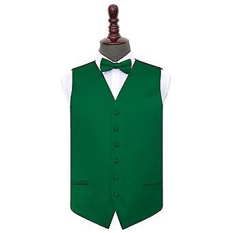 Emerald Green Plain Satin Wedding Waistcoat & Bow Tie Set