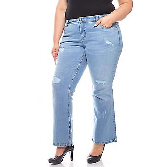 sheego Bootcut Jeans in the used look short size plus size blue