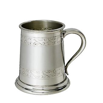 Wentworth Pewter - Half Pint Embossed Celtic Band Pewter Tankard, Beer Mug
