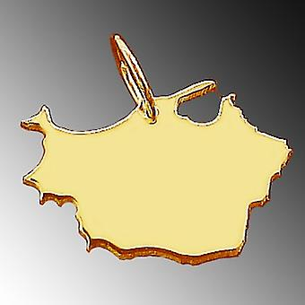 Trailer map of East PRUSSIA in massive 585 gold pendants