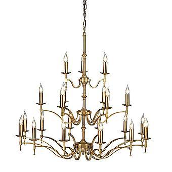 Interiors 1900 Stanford Antique Brass Chandelier, 21 Light 3 Tier