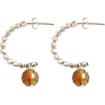 Ladies earrings 925 Silver loop Gold Orange 3 cm
