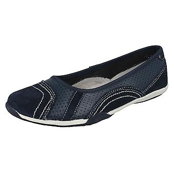 Ladies Down To Earth Flat Ballerina Shoes F8991