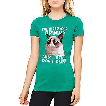 Grumpy Cat Cat Opinion Women's Kelly Green T-shirt