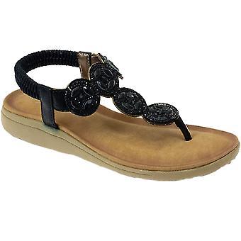 JLH795 DULCIE Ladies Padded Elasticated Diamante Toe Post Sandals Shoes