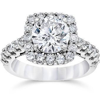 3 ct (2 Ct midden) kussen Halo Enhanced Diamond Engagement Ring 14K witgoud
