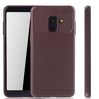 Samsung Galaxy A8 2018 Handyhülle Schutzcase Carbon Optik Bumper Braun