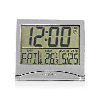 NEDIS CLDK002SR digitale Reisewecker Datum/Temperatur-Silber