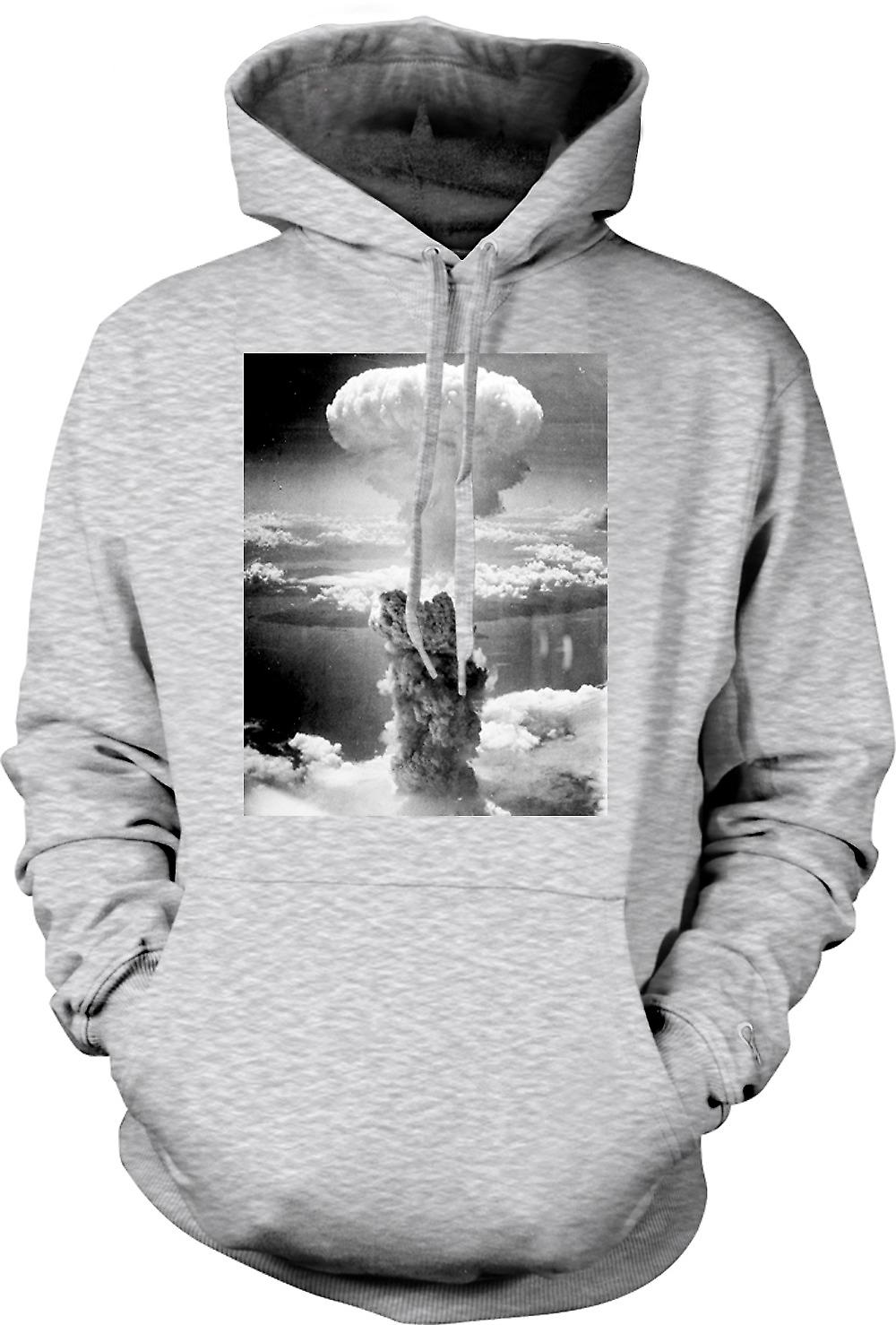 Mens Hoodie - Nuclear Mushroom Cloud  And White