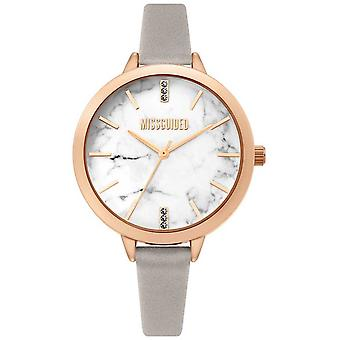 Missguided | Ladies Grey Leather Strap | White Marbel Dial | MG011ERG Watch