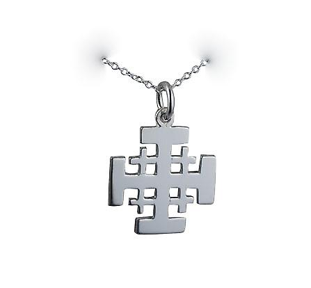 Silver 19mm Jerusalem Cross with a rolo Chain 14 inches Only Suitable for Children