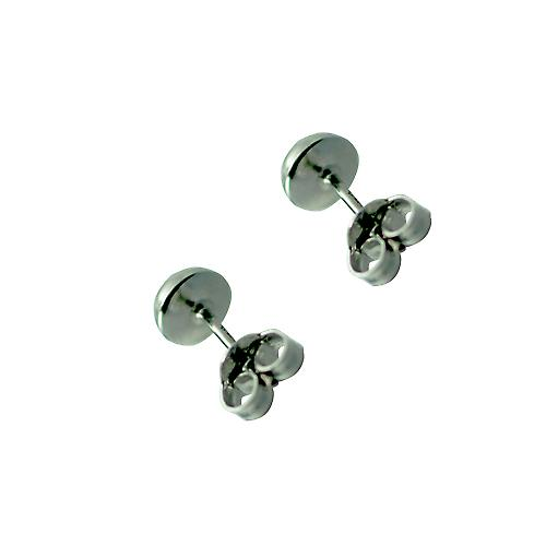 9ct White Gold 5mm round half Ball Stud Earrings no Hallmark