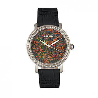 Bertha Courtney Opal Dial Leather-Band Watch - Black