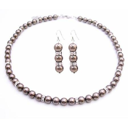 Brown Espresso Pearls Bridesmaid Handmade Swarovski Jewelry