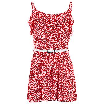Ladies ermeløse Frill Floral belte Cami kvinners sommer Shorts Party Playsuit