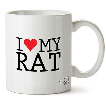 Hippowarehouse ich liebe es meine Ratte gedruckt Mug Tasse Keramik 10oz