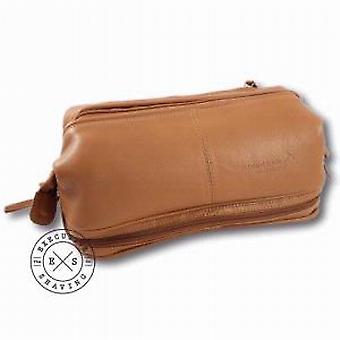 Ambassador Large Leather Wash Bag Tan