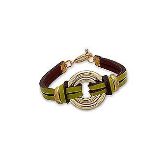 Armband doppelte Kreise aus Stahl, Gold und Leder Grün