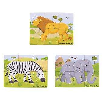 Bigjigs Toys Safari Puzzles Set - Wooden Jigsaw