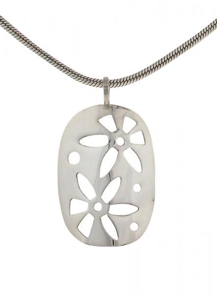 Cavendish French Silver oval pendant with cut-out flowers without Chain