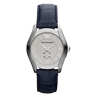Emporio Armani Ar1668 Ladies Blue Leather With Silver Dial Watch