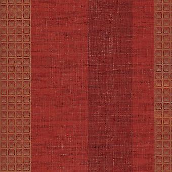 Red Burgundy Stripe Wallpaper Squares Geometric Gold Metallic Vinyl Paste Wall