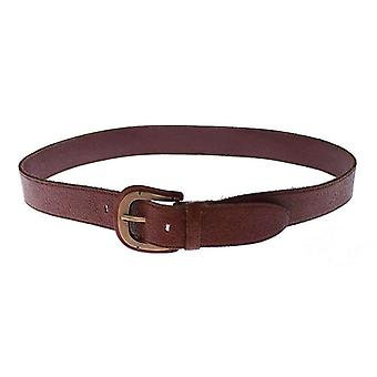 Dolce & Gabbana Brown Leather Logo Waist Gold Buckle Belt -- GSB1425413