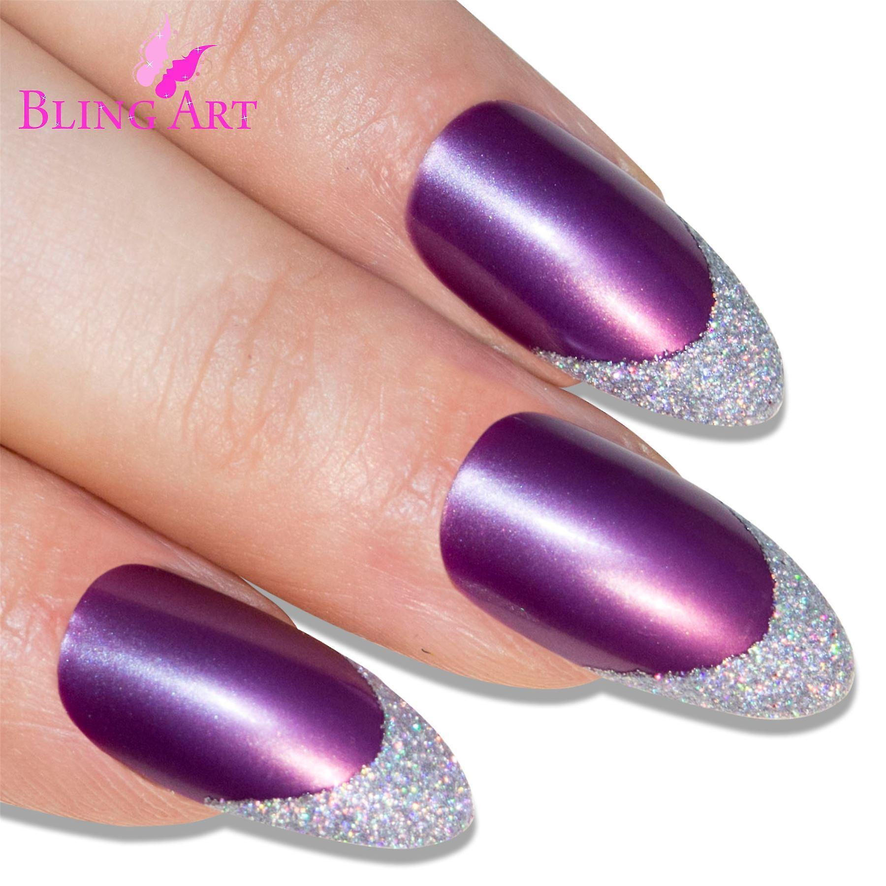 False nails by bling art purple silver almond stiletto long fake acrylic tips glue