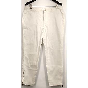 Kate et Mallory Jeans 5 Pocket Skinny w/ Ankle Zipper Detail White A428724