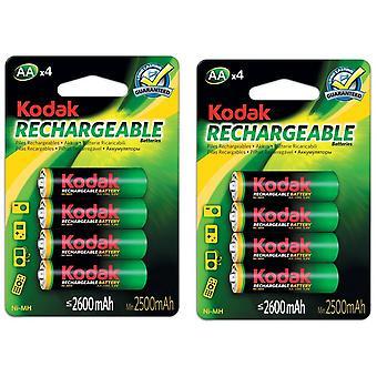 8x Kodak oplaadbare AA batterij NiMH 2600 mAh batterijen