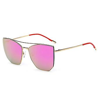 Dorset | ca06 - oversize polygon mirrored lens cat eye sunglasses