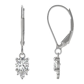 14K White Gold Moissanite by Charles & Colvard 4mm Round Drop Earrings, 0.54cttw DEW